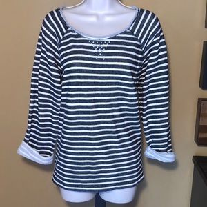 Anne Klein striped sweatshirt with silver studs